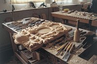 The wood carvings for all clocks are made individually.