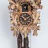2-100-2ge Carved cuckoo clock with leaves and bird, burned carving (very special)