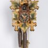 2-100bu Carved cuckoo clock with leaves and bird, colored